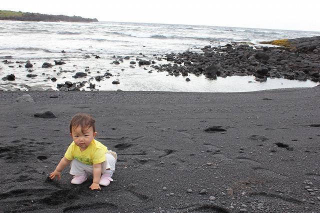 ハワイ島の黒砂海岸